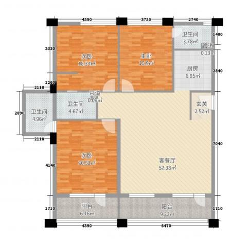 阳光半岛国际公寓二期3室1厅3卫0厨189.00㎡户型图