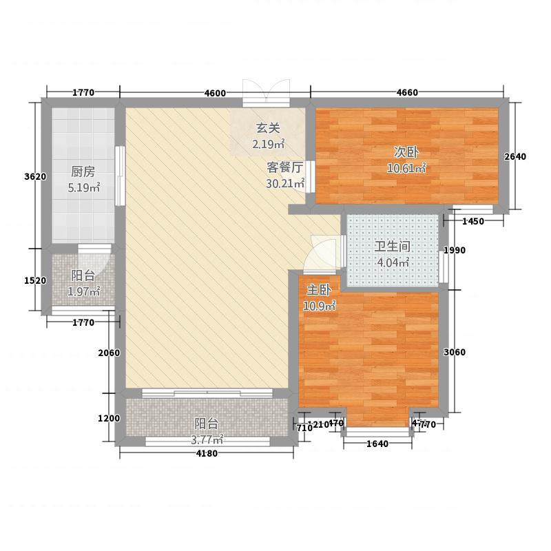 容辰庄园东区5.00㎡D-3户型2室2厅1卫1厨