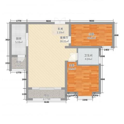 容辰庄园东区2室1厅1卫1厨66.70㎡户型图