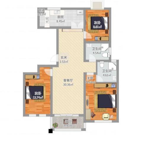 仁和英伦皇家花园3室1厅2卫1厨128.00㎡户型图