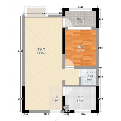 枫�398F区1室1厅1卫1厨64.00㎡户型图