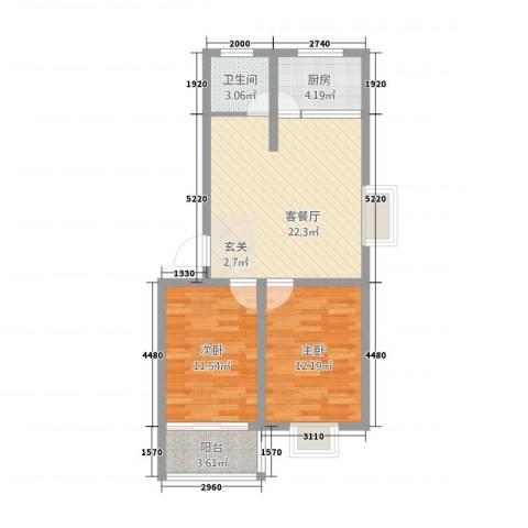 万泰颐轩2室1厅1卫1厨82.00㎡户型图