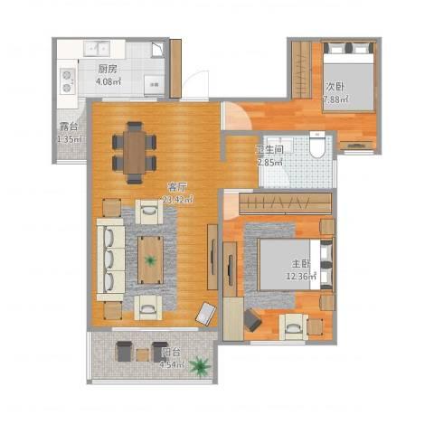 东方米兰国际城2室1厅1卫1厨78.00㎡户型图