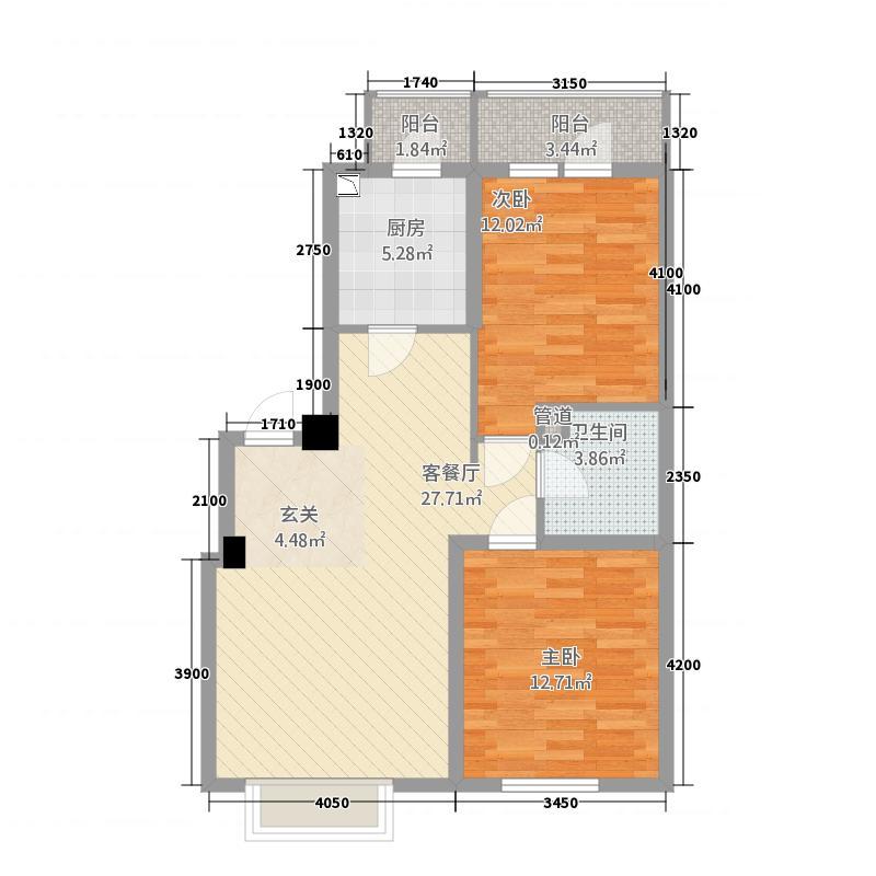 其仕郡7.16㎡高层D户型2室2厅1卫