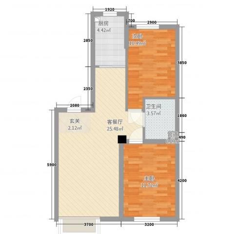 其仕郡2室1厅1卫1厨85.00㎡户型图