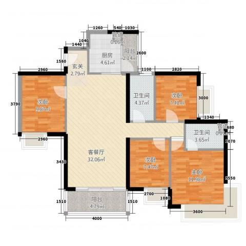 金碧湾花园4室1厅2卫1厨116.00㎡户型图