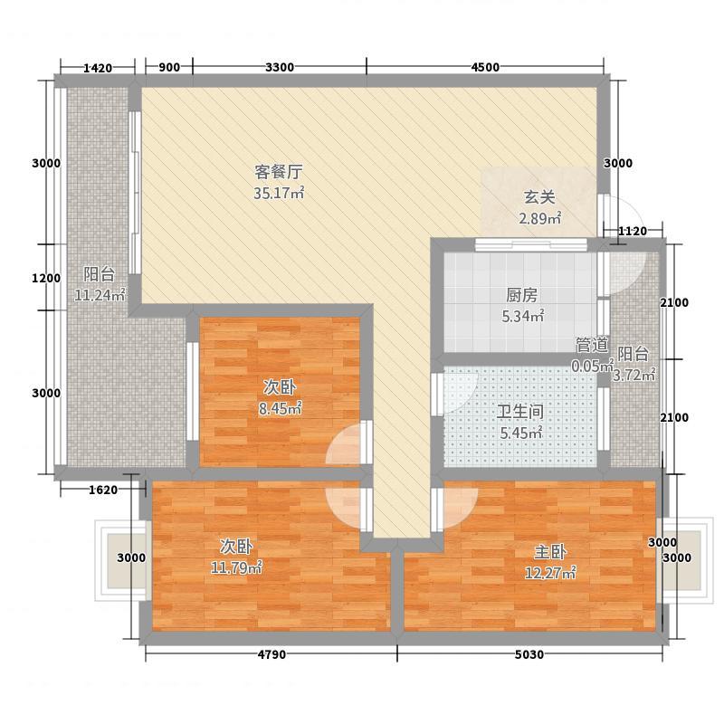 御泽园1.50㎡二栋L4户型3室2厅1卫1厨