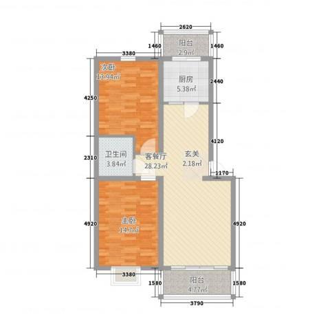 柳墅新城2室1厅1卫1厨73.77㎡户型图