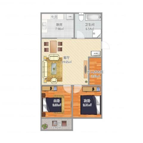 金容花园2室1厅1卫1厨88.00㎡户型图