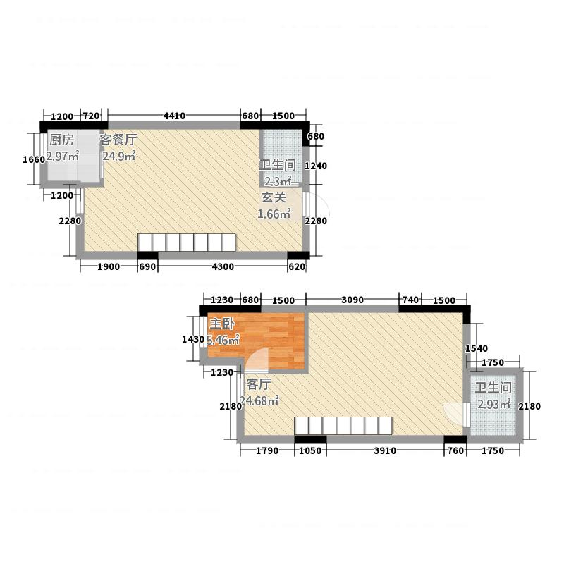 华中电动车CBD41.45㎡loftA3户型2室2厅2卫