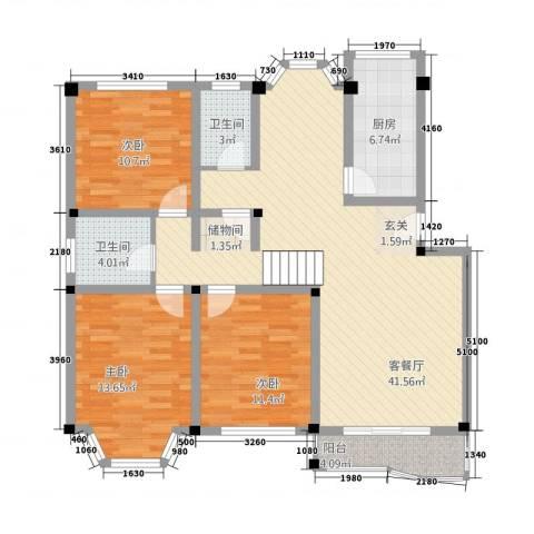 景华世纪园3室1厅2卫1厨132.00㎡户型图