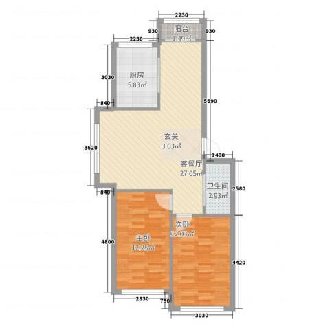 金都嘉园2室1厅1卫1厨68.72㎡户型图