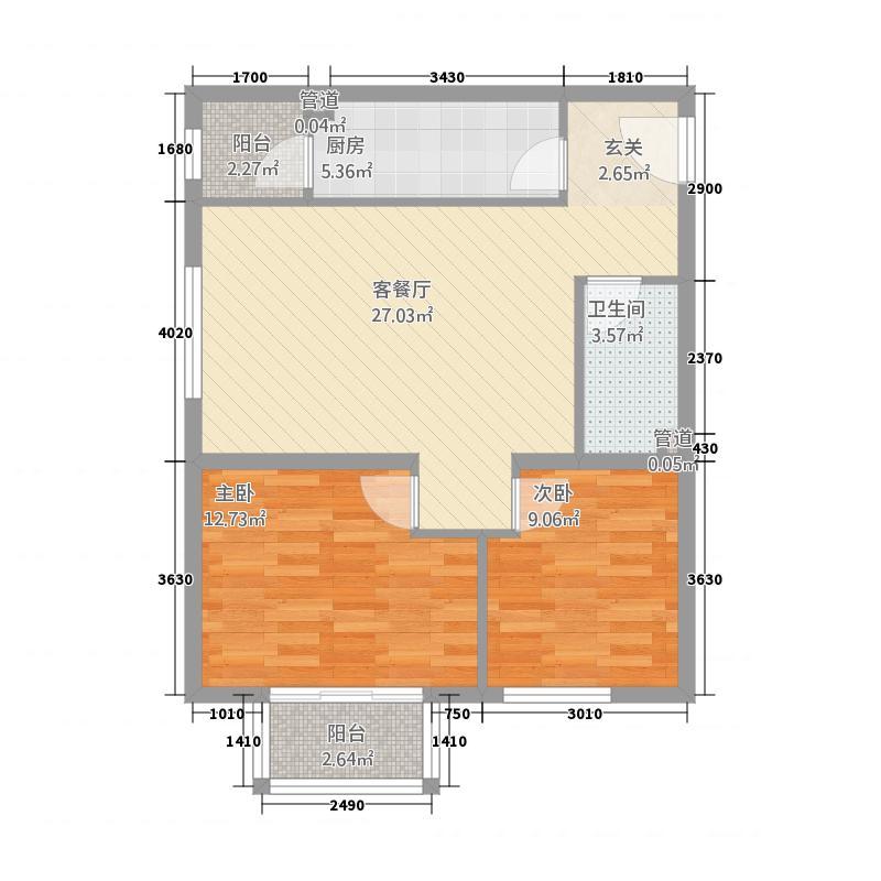 鹿塬温泉小区户型2室