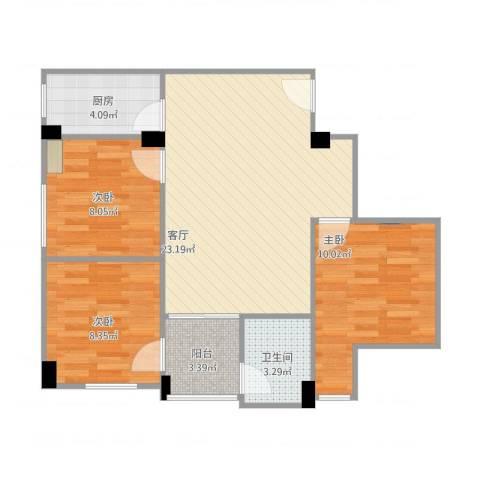 金城小区3室1厅1卫1厨83.00㎡户型图