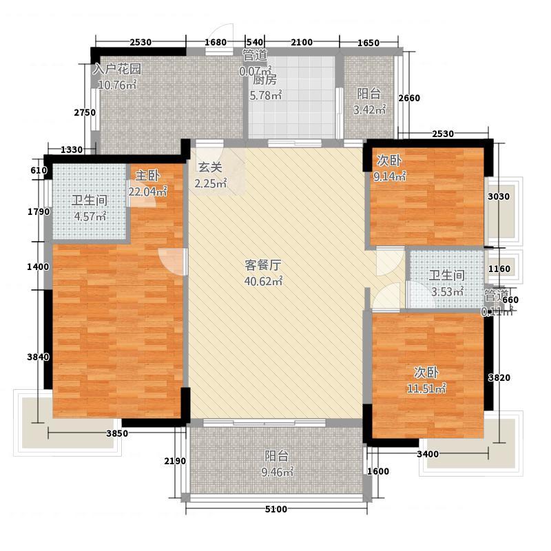 怡翠馨园142.85㎡嘉观苑6座03单元户型3室2厅2卫