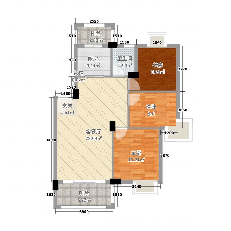 香逸湖畔花园8.42㎡A1户型3室2厅1卫1厨