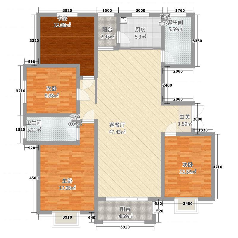 丹桂里7#A户型4室2厅2卫1厨