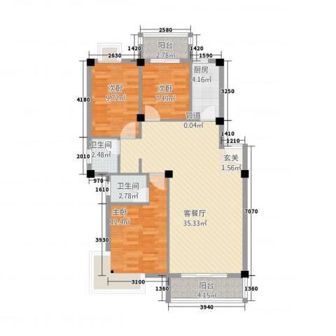 广景森邻(广景花园)3室1厅2卫1厨115.00㎡户型图