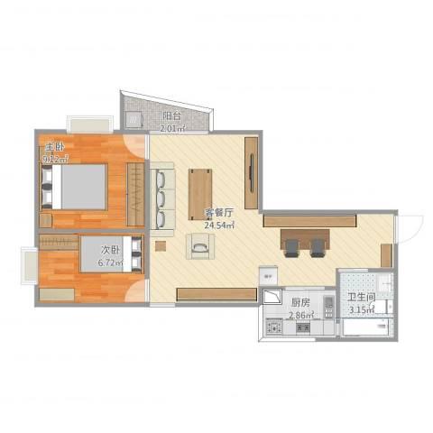 翠湖山庄2室1厅1卫1厨66.00㎡户型图