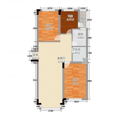 东方万达城3室1厅1卫1厨105.00㎡户型图
