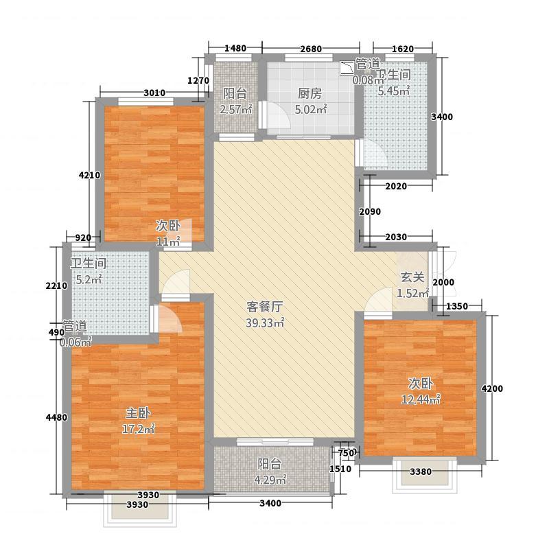 丹桂里8#B户型3室2厅2卫1厨