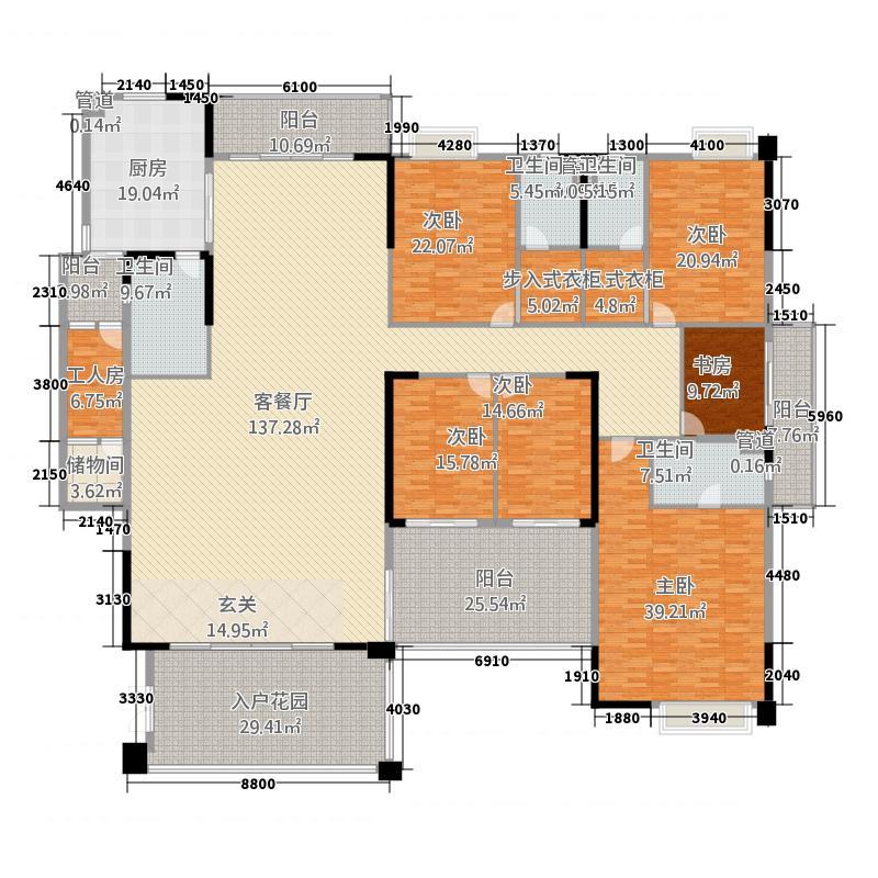 裕通花园446.00㎡西区13幢标准层01户型5室2厅4卫1厨
