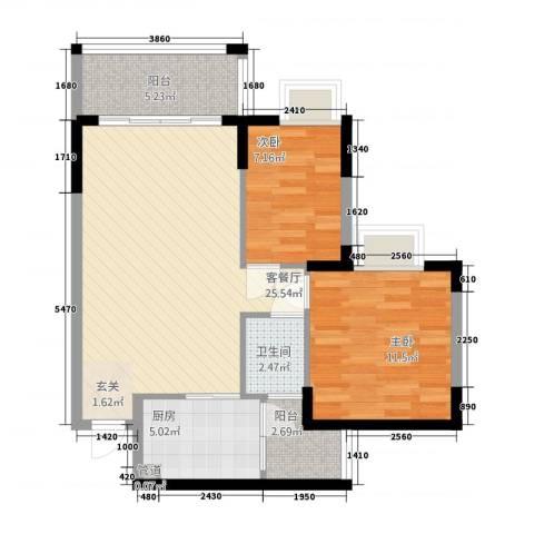 华远大厦2室1厅1卫1厨85.00㎡户型图