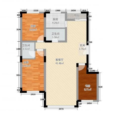 东方万达城3室1厅2卫1厨121.00㎡户型图