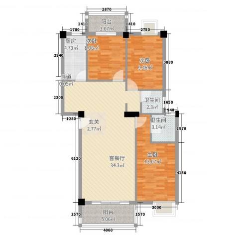 广景森邻(广景花园)3室1厅2卫1厨118.00㎡户型图