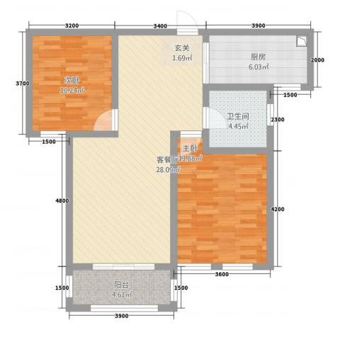 神山公寓2室1厅1卫1厨98.00㎡户型图