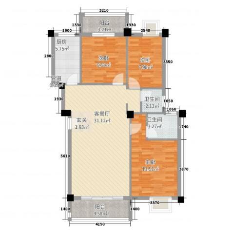 广景森邻(广景花园)3室1厅2卫1厨114.00㎡户型图