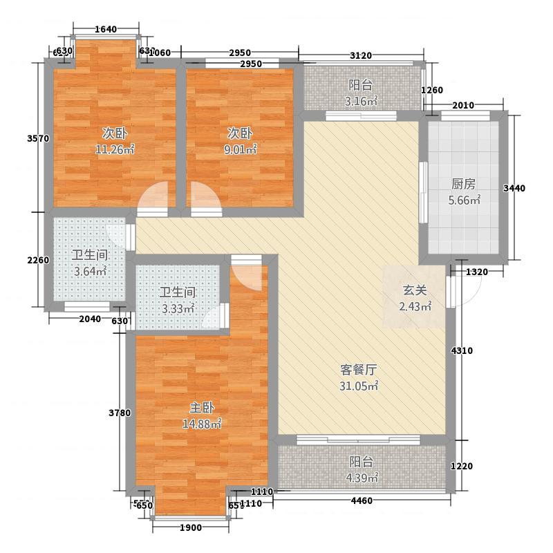 图强路2号U4603P967T15D68F730DT20100326150407户型3室2厅2卫1厨