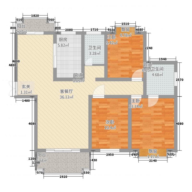 绿地阳澄名邸131.77㎡7幢A户型3室2厅2卫