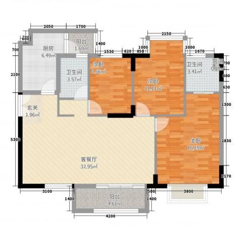合正锦园3室1厅2卫1厨124.00㎡户型图