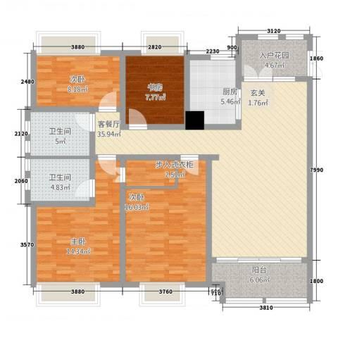 鸿舜御峰4室1厅2卫1厨161.00㎡户型图