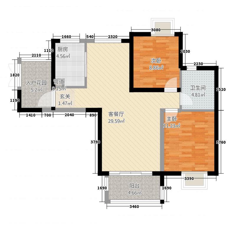 金枫府邸户型2室