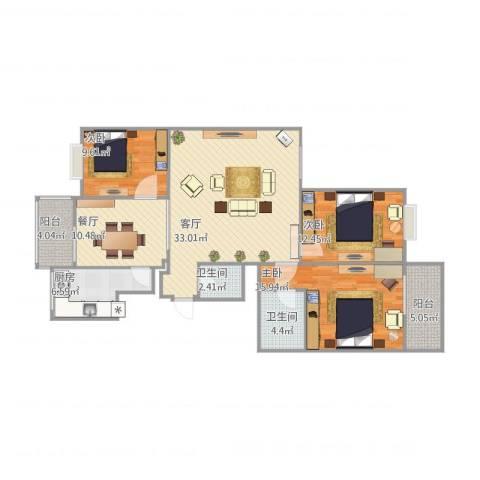 西瑞北国之春3室2厅2卫1厨138.00㎡户型图