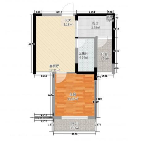 金色华府1室1厅1卫1厨47.52㎡户型图