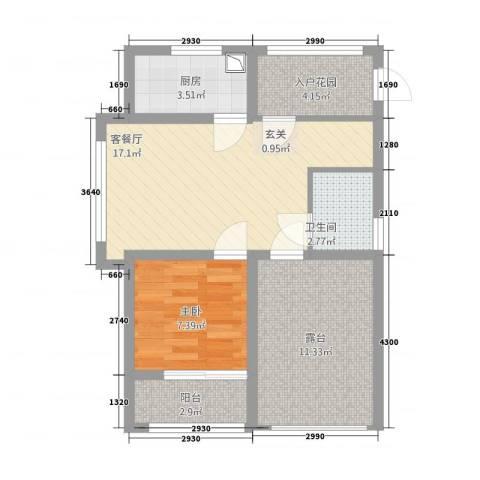 桔子公民1室1厅1卫1厨73.00㎡户型图