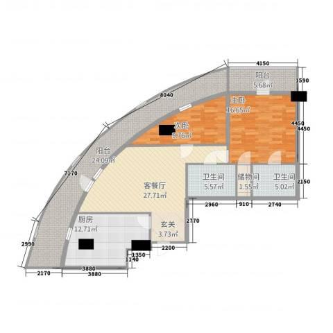 世纪之帆2室1厅2卫1厨154.00㎡户型图