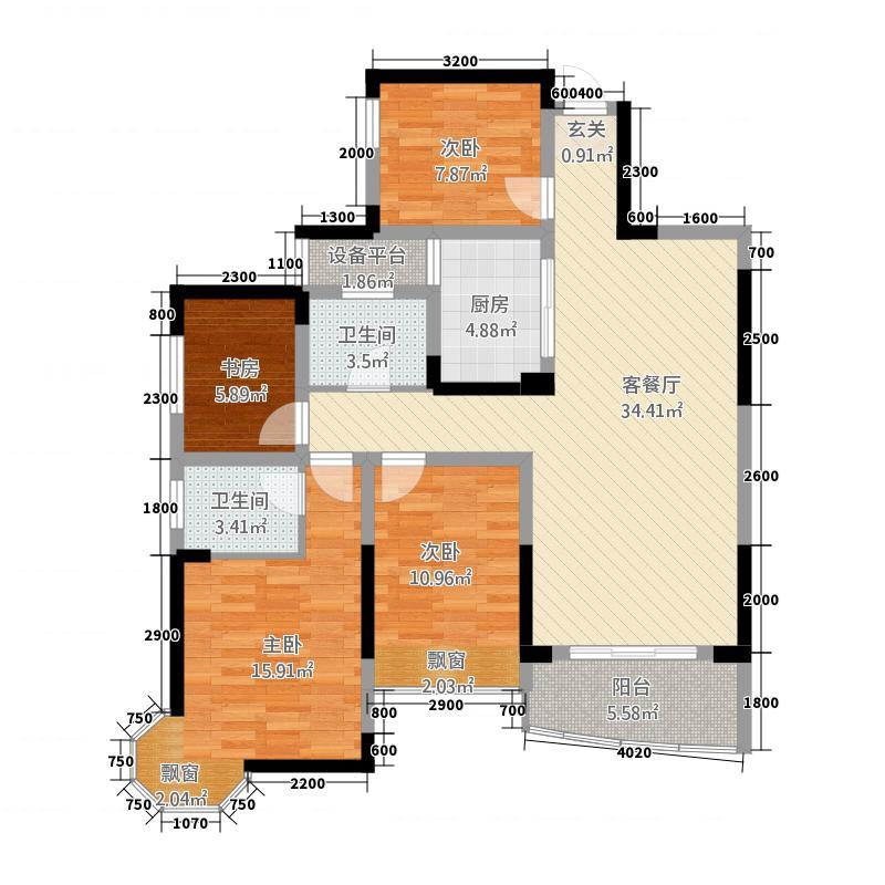 凯旋中央城126.48㎡1#3(B)户型3室1厅2卫