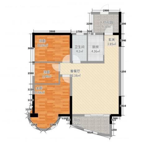 东方阁3室1厅1卫1厨1317.00㎡户型图