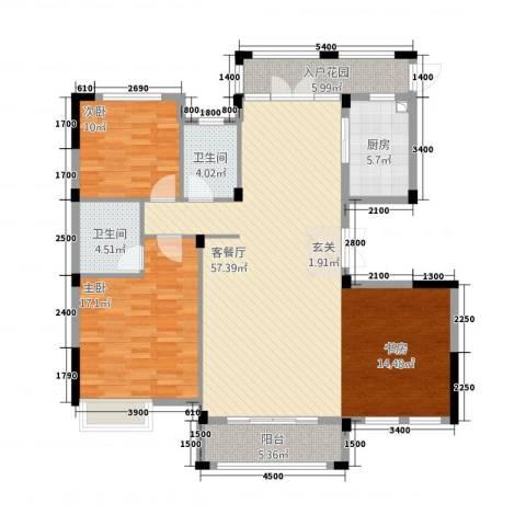 华仪香榭华庭2室1厅2卫1厨137.00㎡户型图