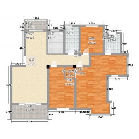 万枫家园3室1厅2卫1厨180.00㎡户型图