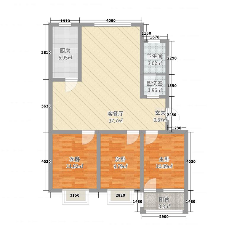 辛置金江园118.80㎡A户型3室2厅1卫1厨
