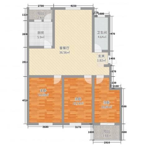 幸福泉城尚郡3室1厅1卫1厨132.00㎡户型图