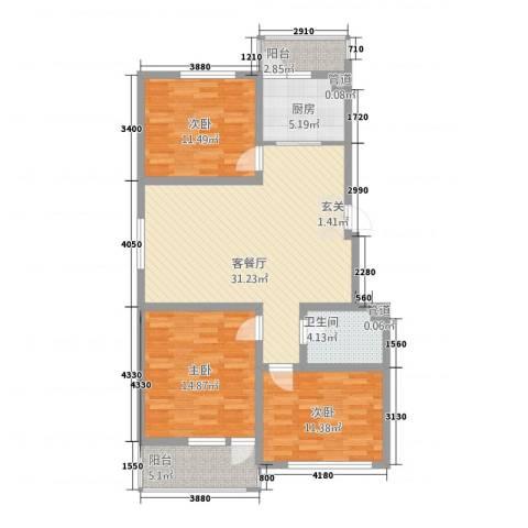 幸福泉城尚郡3室1厅1卫1厨123.00㎡户型图