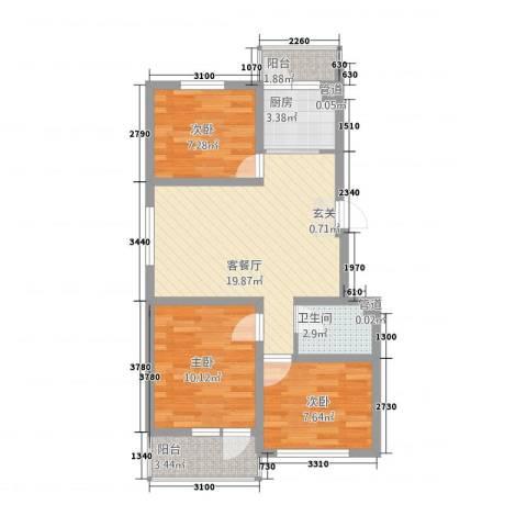 幸福泉城尚郡3室1厅1卫1厨114.00㎡户型图