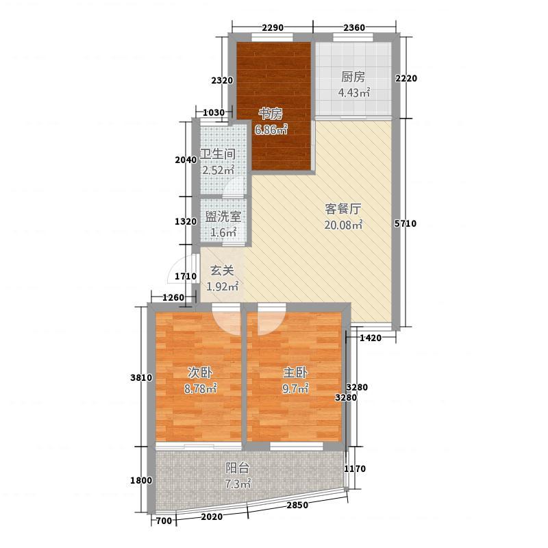 新力凤凰城7.00㎡户型3室2厅1卫1厨