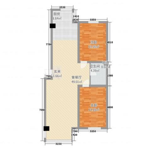 博隆金水湾家园2室1厅1卫0厨88.00㎡户型图